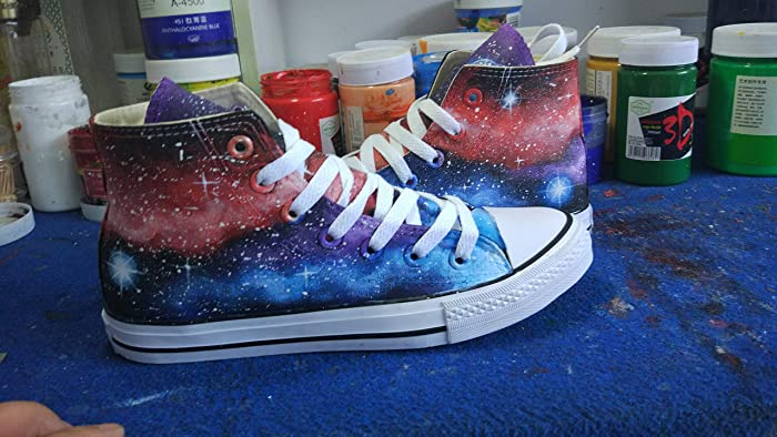 90e4a2240124ba Amazon.com  Galaxy Shoes Custom Sneakers For Men Women Hand Painted Black  Canvas Shoes  Handmade
