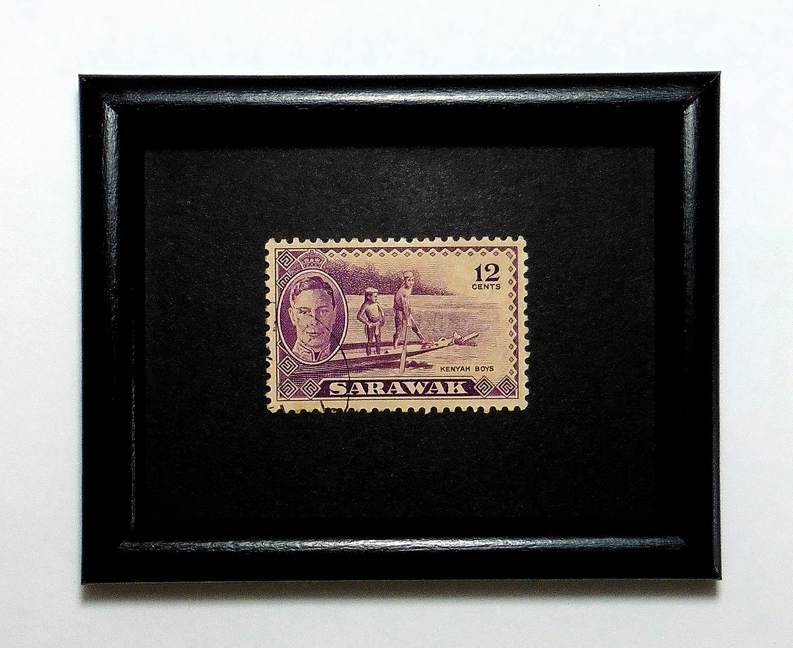 Kenyah Boys -Handmade Framed Postage Stamp Art 1105AM