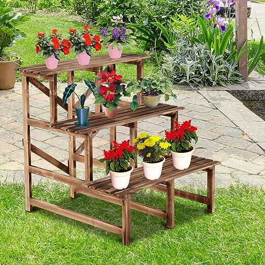 Macetero de madera para interior y exterior, estante reclinable Maceta decorativa para jardín, interior y exterior, color rojo: Amazon.es: Jardín