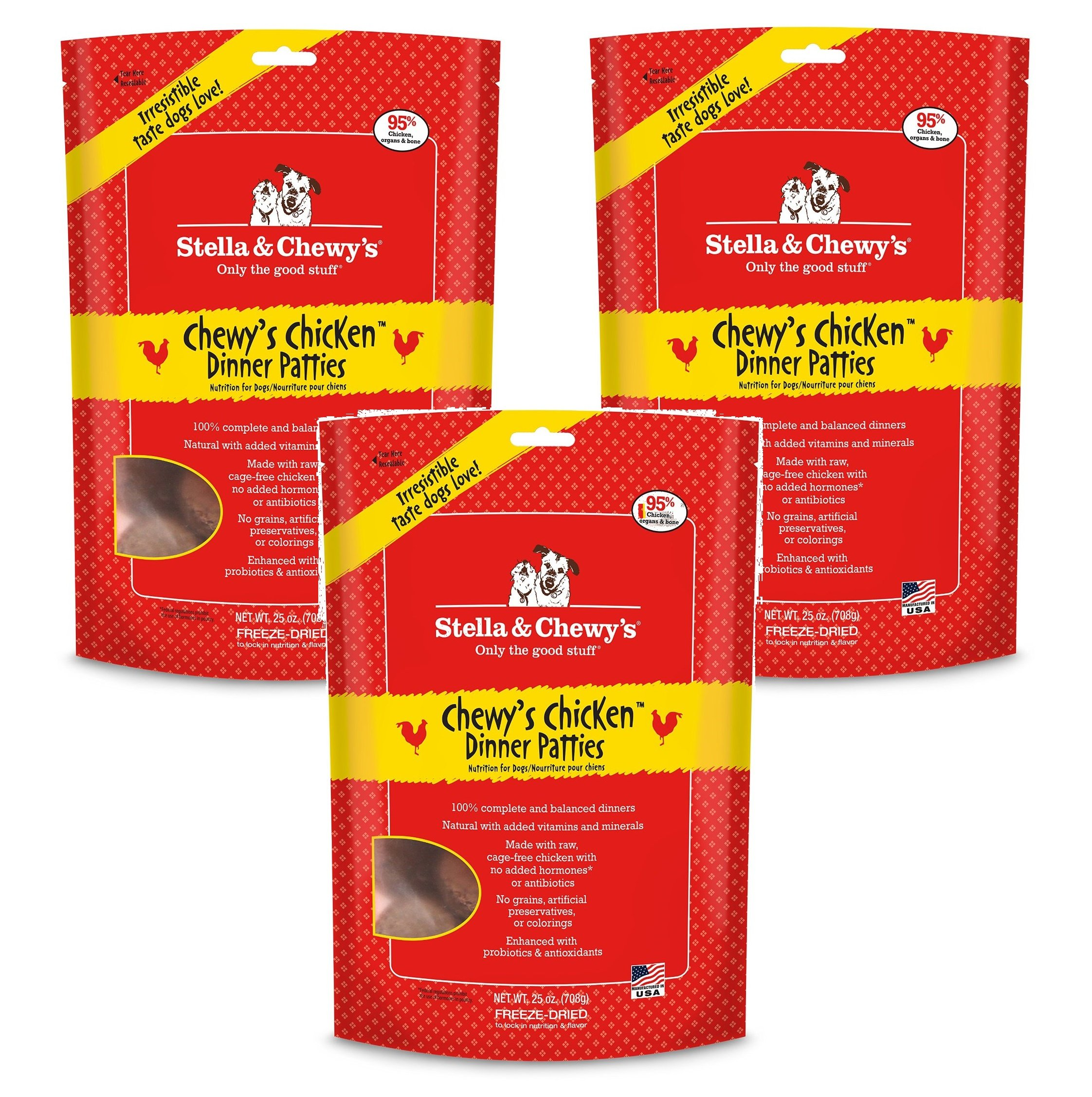Stella & Chewy's Freeze-Dried Dinner - Chewy's Chicken - 25 oz (Pack of 3)
