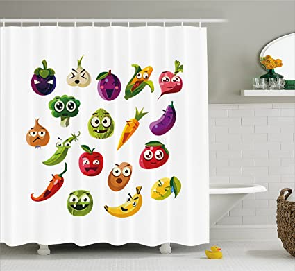 Ambesonne Emoji Shower Curtain Fruits And Vegetables Carrot Banana Pepper Onion Garlic Food Cartoon Style