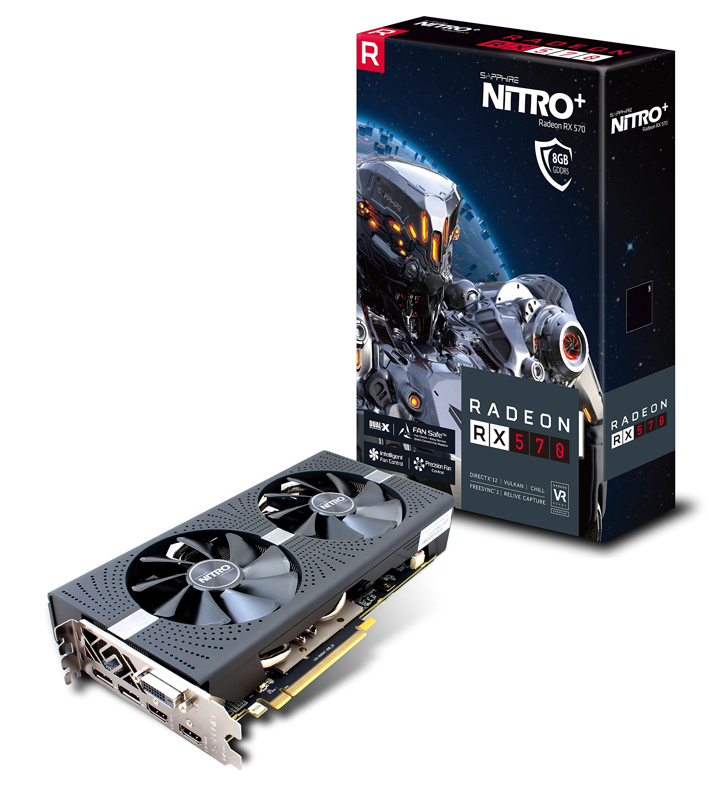Sapphire 11266-09-20G Radeon NITRO+ RX 570 8GB GDDR5 DUAL HDMI / DVI-D / DUAL DP with backplate (UEFI) PCI-E Graphics Card by Sapphire Technology