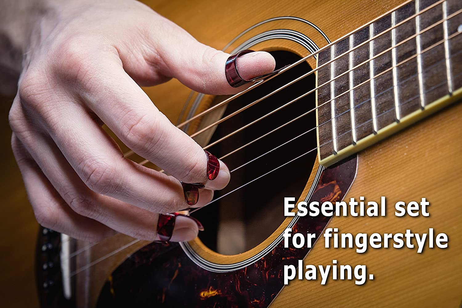 Banjo or Ukulele EPIC berry Thumb and Finger Picks Best for Fingerstyle Acoustic Guitar Large Red Includes a Pouch.