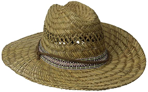 2f54db3329ec2 San Diego Hat Co. Men s Straw Lifeguard Hat with Jacquard Band and Chin  Strap