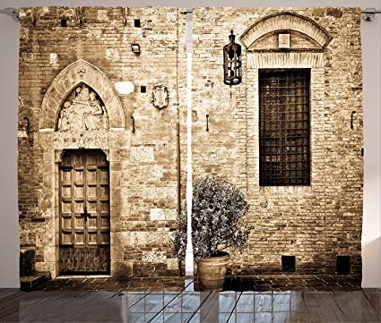 Amazon Com Medieval Tuscany Decor Curtains Antique Doorway To Stone
