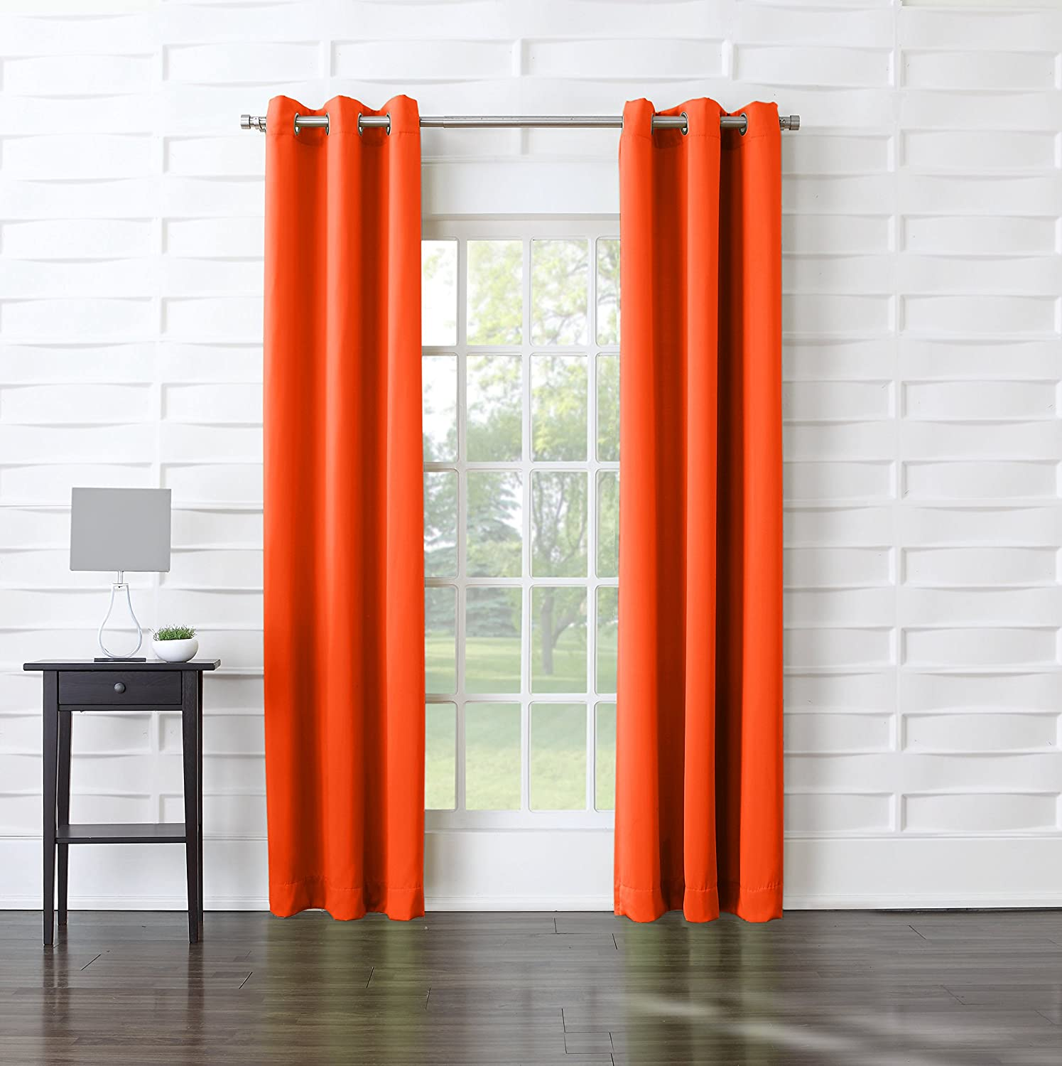 "Sun Zero Becca Energy Efficient Grommet Curtain Panel, 40"" x 84"", Tangerine Orange"