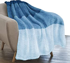 PAVILIA Sherpa Ombre Throw Blanket for Couch   Fuzzy Plush Cozy Microfiber Fleece Couch Blanket   Gradient Decorative Accent Throw   50x60 Inches Sea Blue