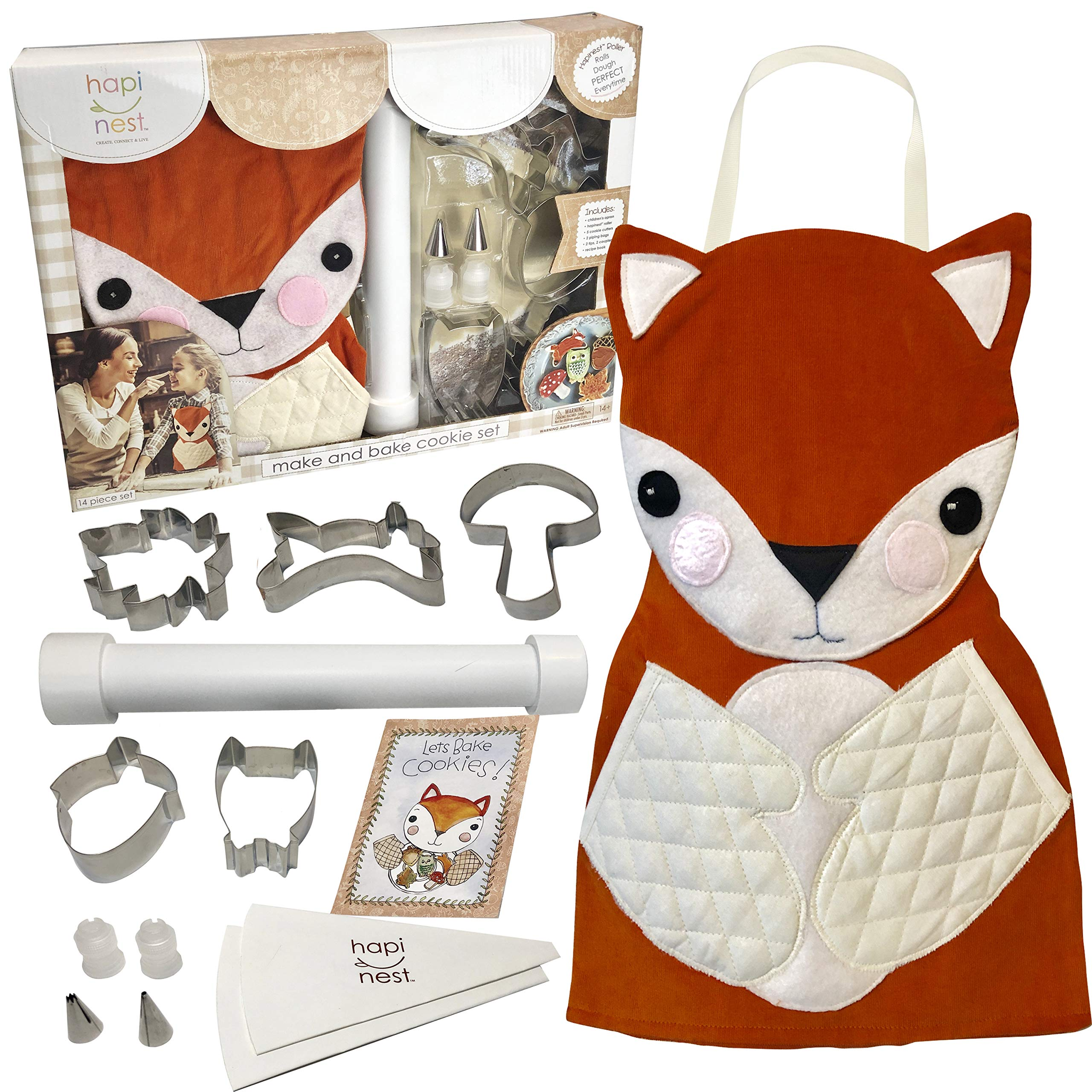Hapinest Kids Baking Set for Girls Gifts Ages 4 5 6 7 8 year old Make and Bake Cookies Kit Fox Apron and Fall Cookie Cutters, 14 pieces by Hapinest