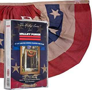 product image for Valley Forge, Bunting Banner, Cotton, 3' x 6', 100% Made in USA, Heritage Series, Antiqued Striped Full Fan Bunting