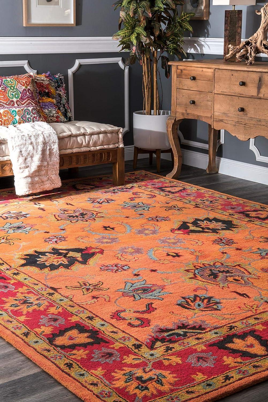 Amazon Com Nuloom Montesque Hand Tufted Wool Area Rug 6 Square Orange Furniture Decor