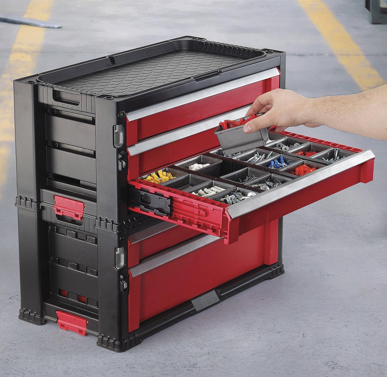 Keter 223044 - Carrito Organizador con 7 cajones, Negro Y Rojo ...