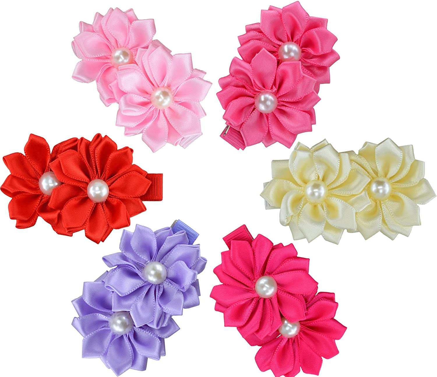 12 Pcs Heymei Baby Girls Solid Colors Chiffon Flowers Hair Bows Elastic Headbands (12 Soft Colors)