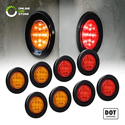 "8pc 2.5"" Amber + Red Round Trailer LED Marker Lights [DOT Approved] [Reflector Lens] [Grommet] [Flush-Mount] [Waterproof IP67] Marker Lights for Trailer Truck: Automotive [5Bkhe2004069]"