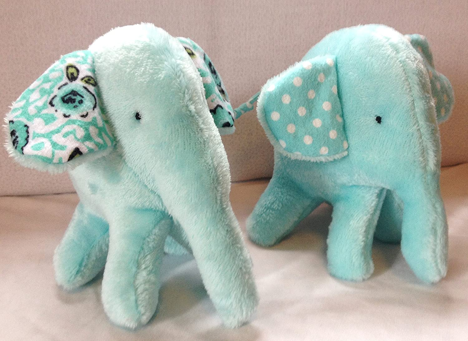 ELEPHANTS PALE BLUE Double Sided Supersoft Cuddlesoft Fleece Fabric Material