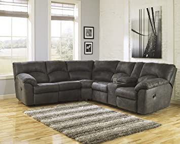 FurnitureMaxx Tambo Contemporary Pewter Microfiber Reclining Sectional Sofa