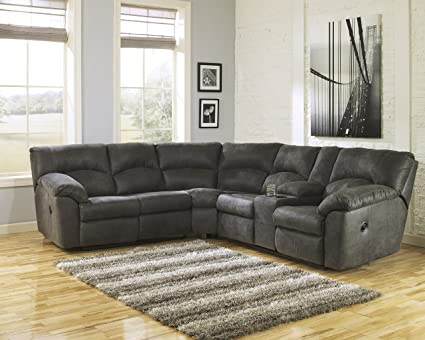 Attrayant Tambo Contemporary Pewter Microfiber Reclining Sectional Sofa