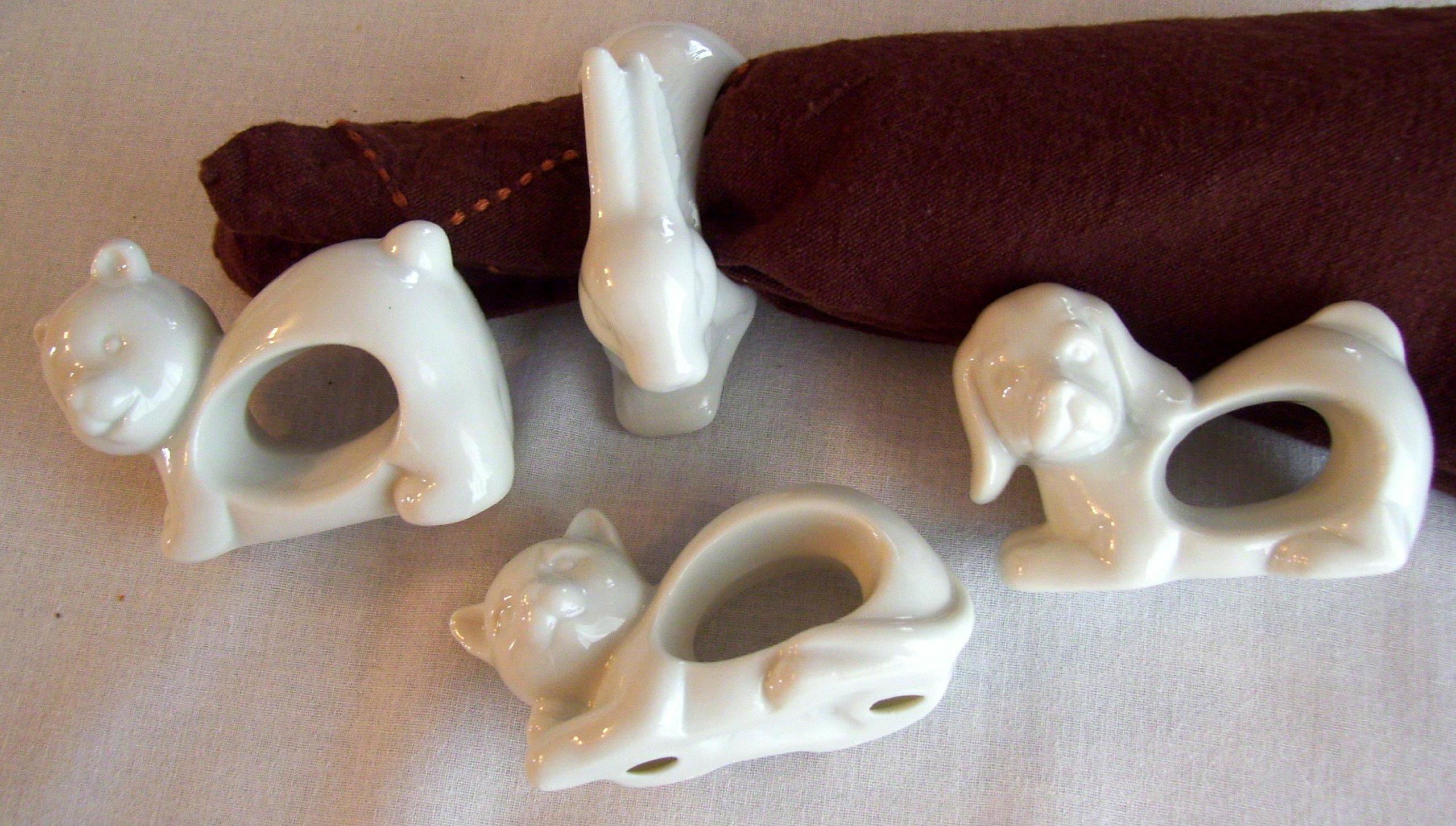 White Porcelain Animals Napkin Rings Set of 4