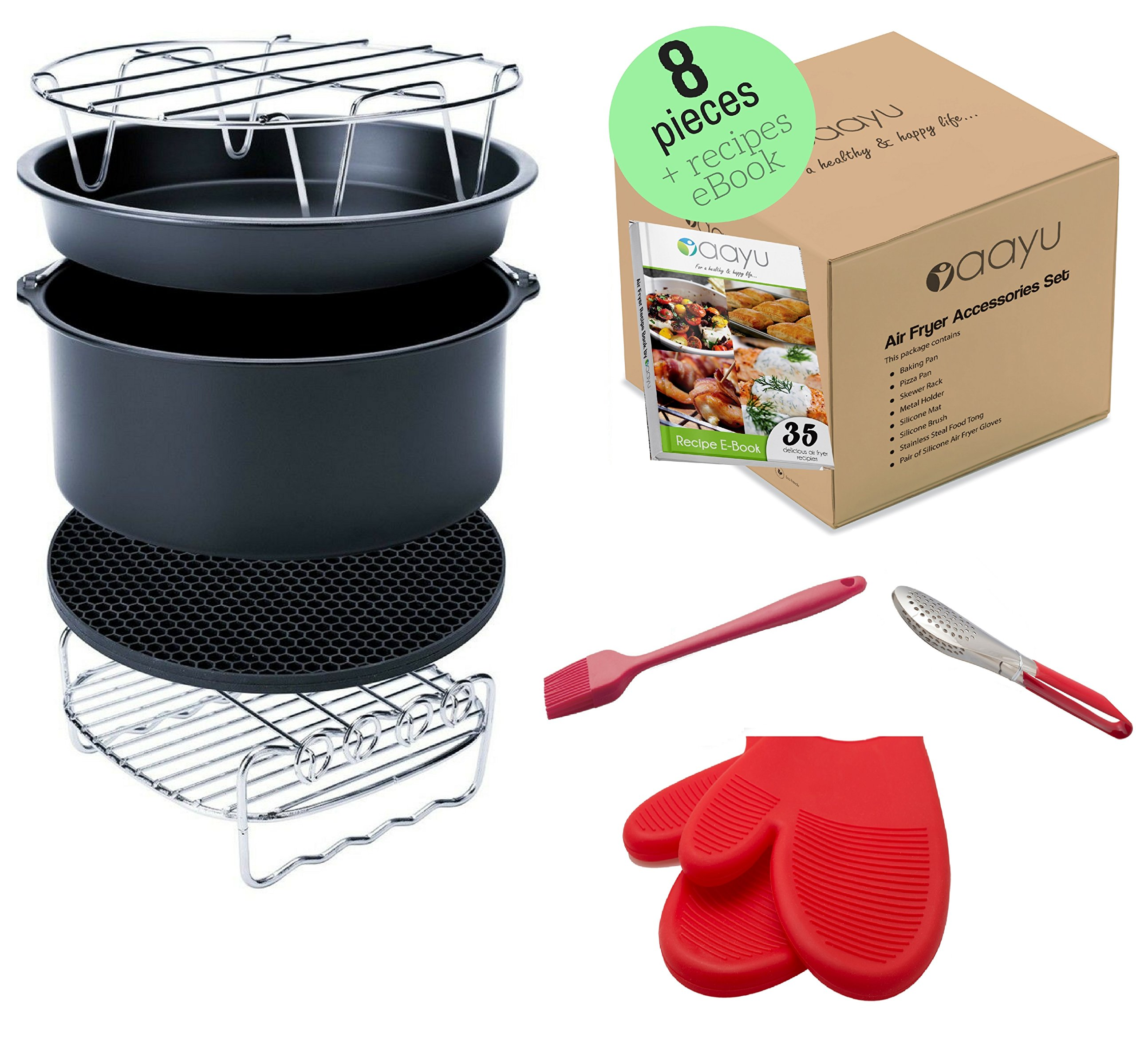 Premium Air Fryer Accessories Set - 8 Pieces - For GoWise Philips Farberware Power AirFryer and more brands - Fit all 3.7QT to 5.8QT (Universal)