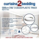 """C2B 196"""" (500cm) Plastic Curtain Track - Strong, Bendable Curtain Track - Bay & Straight Windows, Wall & Ceiling Mounted, Curtains & Shower Curtains, Easily Cut Down, Parts for 3 Tracks."""