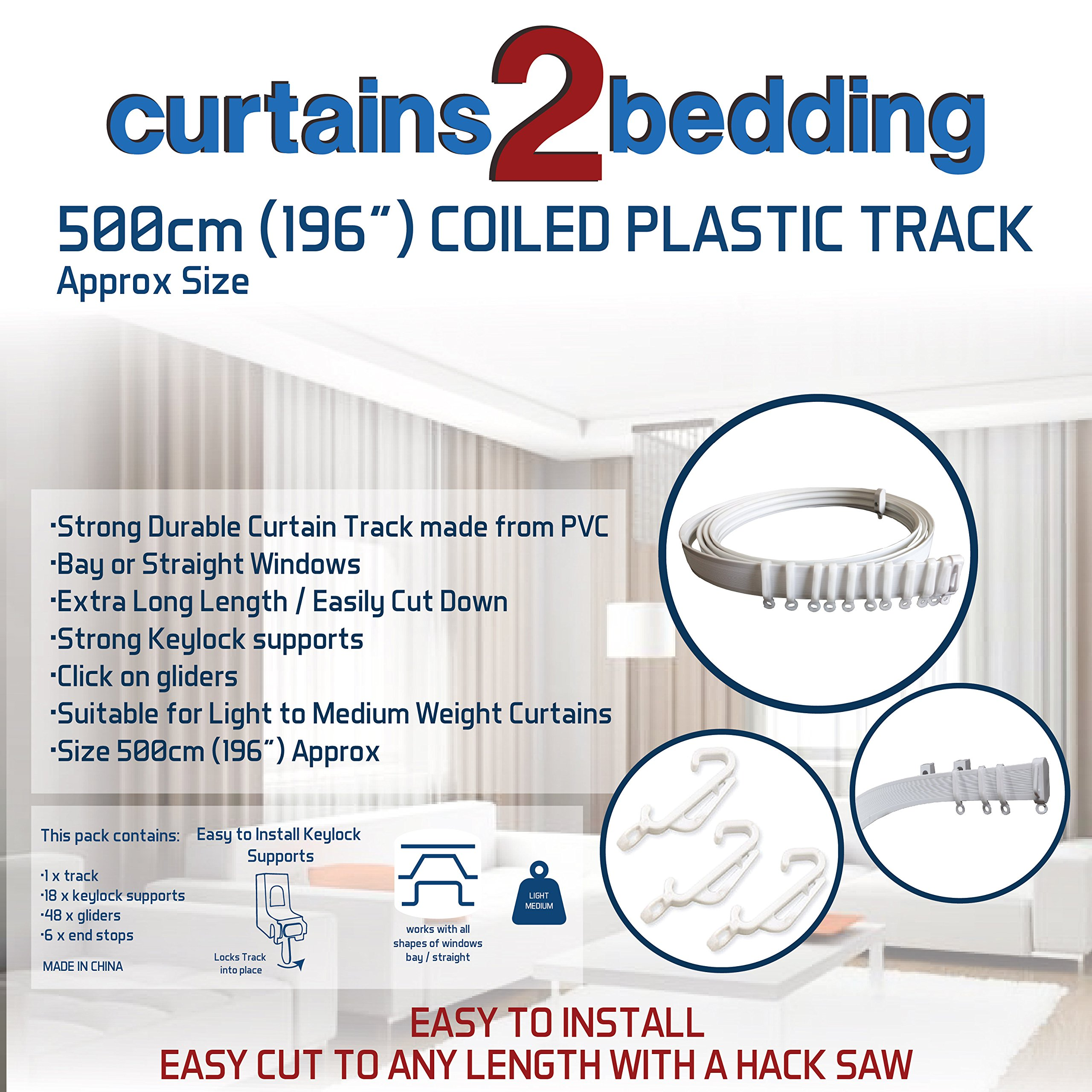 C2B 196'' (500cm) Plastic Curtain Track - Strong, Bendable Curtain Track - Bay & Straight Windows, Wall & Ceiling Mounted, Curtains & Shower Curtains, Easily Cut Down, Parts for 3 Tracks.