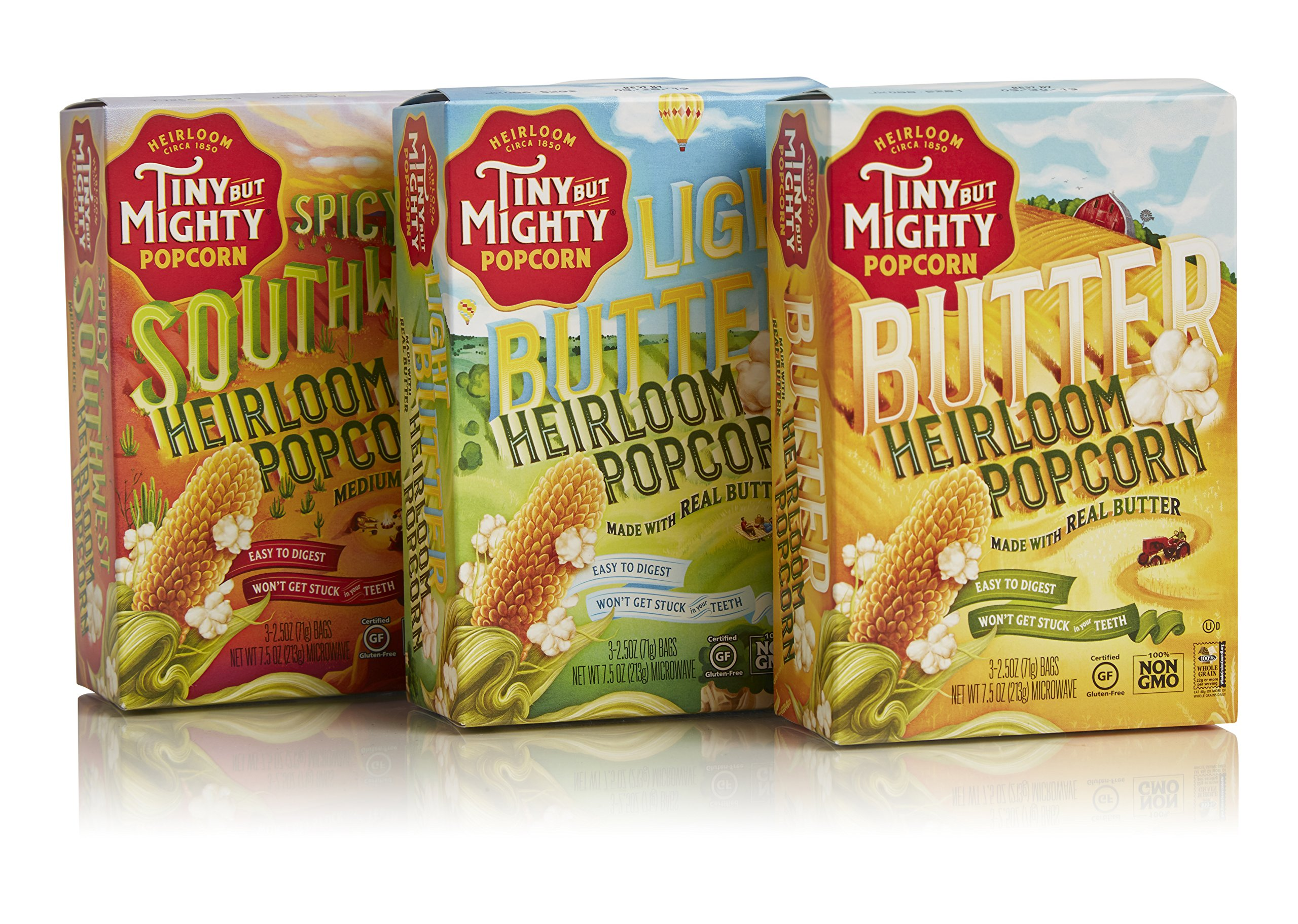 Tiny But Mighty Microwave Popcorn Variety Pack (1 Butter, 1 Light Butter, 1 Spicy Southwest)