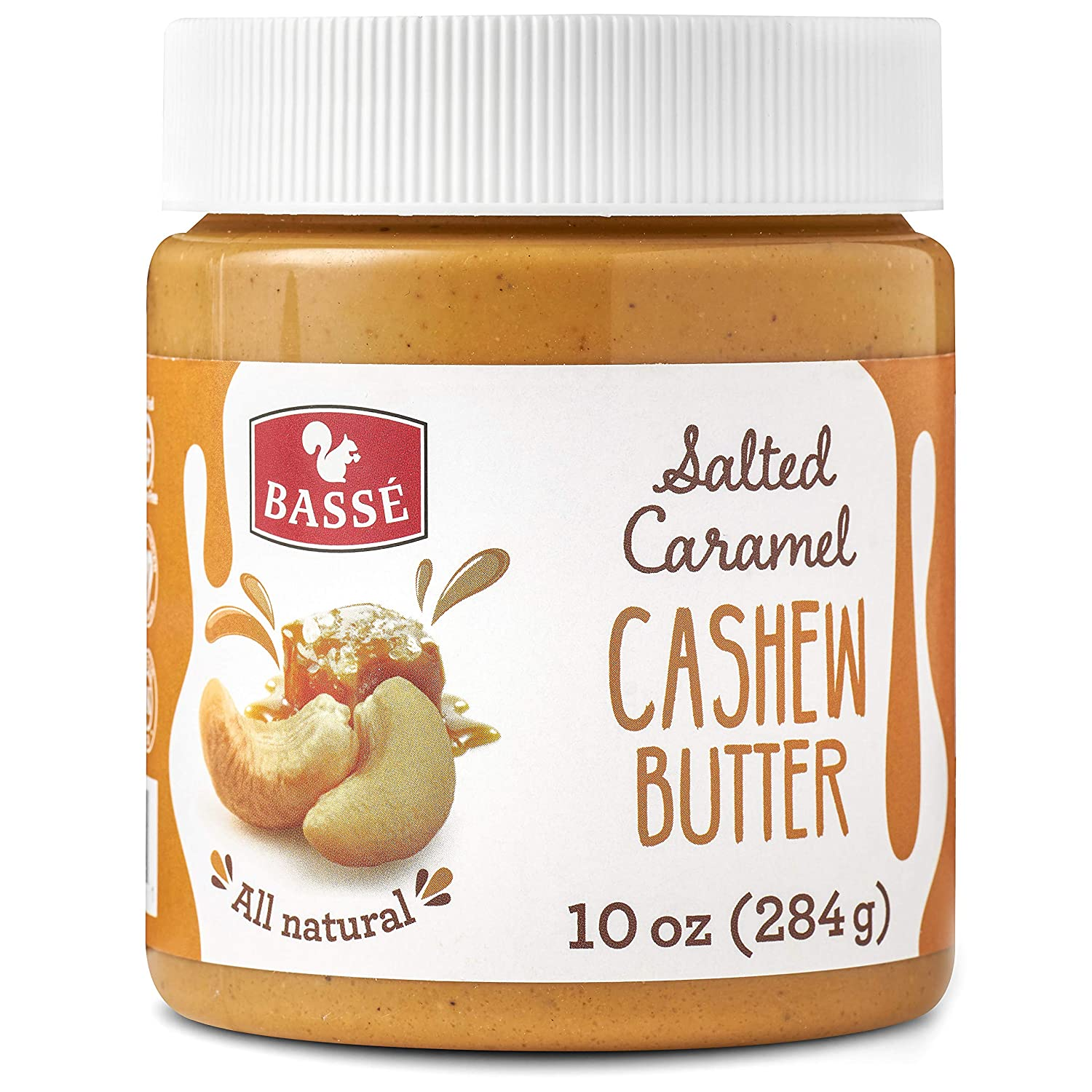 Basse All Natural Cashew Butter with Salted Caramel, Certified Gluten Free and Vegan Nut Butter,...