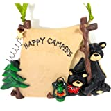 "1 X FLATBACK ""HAPPY CAMPERS"" TWO BLACK BEARS IN TENT ORNAMENT - Christmas Ornament"