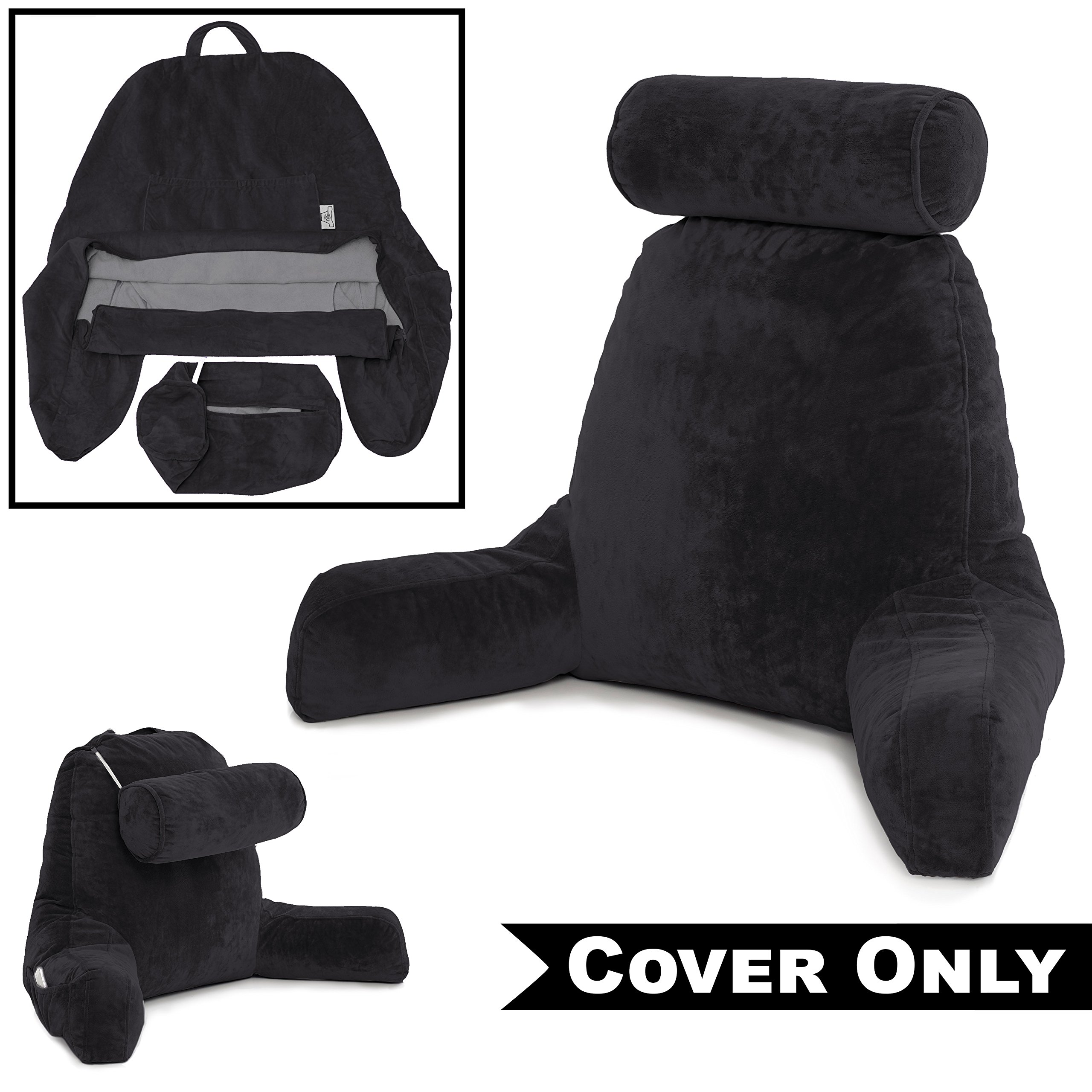Husband Pillow Black COVER ONLY - For the Bedrest Cover Set - Support Bed Backrest Covers, Micro Plush Cover Including Detachable Neck Roll Pillow Cover