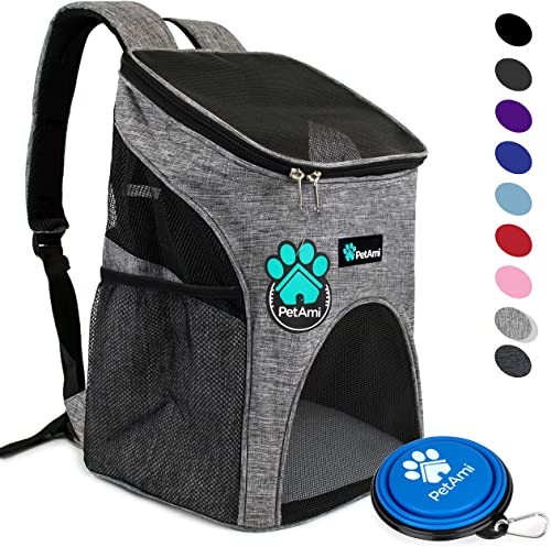 PetAmi Premium Pet Carrier Backpack for Small Cats and Dogs Ventilated Design, Safety Strap, Buckle Support Designed for Travel, Hiking Outdoor Use