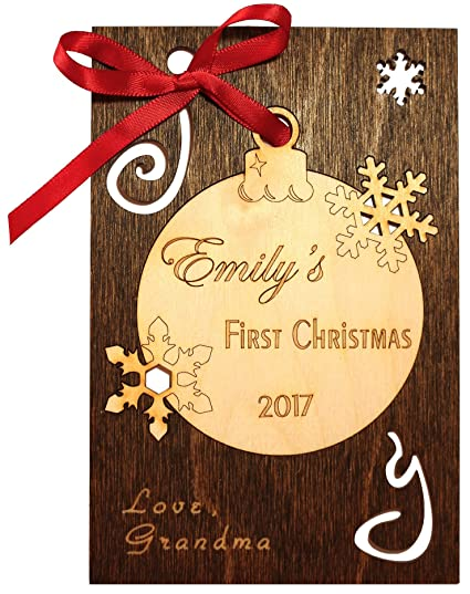 Amazon.com : Personalized Real Wood Happy Holidays Greeting Card ...