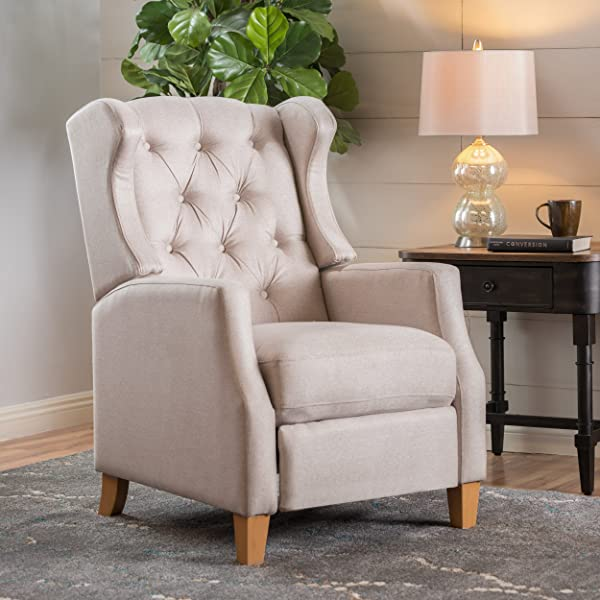 Gondor | Wingbac Button-Tufted Fabric Recliner | in Medium Beige