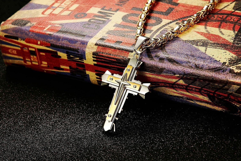 sailimue Collar de Acero Inoxidable Hombre Cruz Colgante Amarillo Negro Byzantine Cadena 5MM