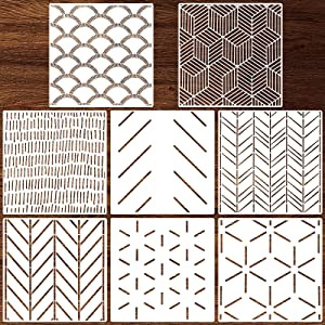 8 Pieces 12 x 12 Inch Herringbone Geometric Wall Stencil Modern Wall Stencils Wall Decor Reusable Film Decorative for Painting, Stencils for Walls, Wall Stencil Pattern (Simple Style)