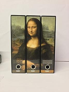 kaos-Juego de 3 archivadores de palanca A4 decorados con LA GIOCONDA De Leonardo Da Vinci: Amazon.es: Oficina y papelería
