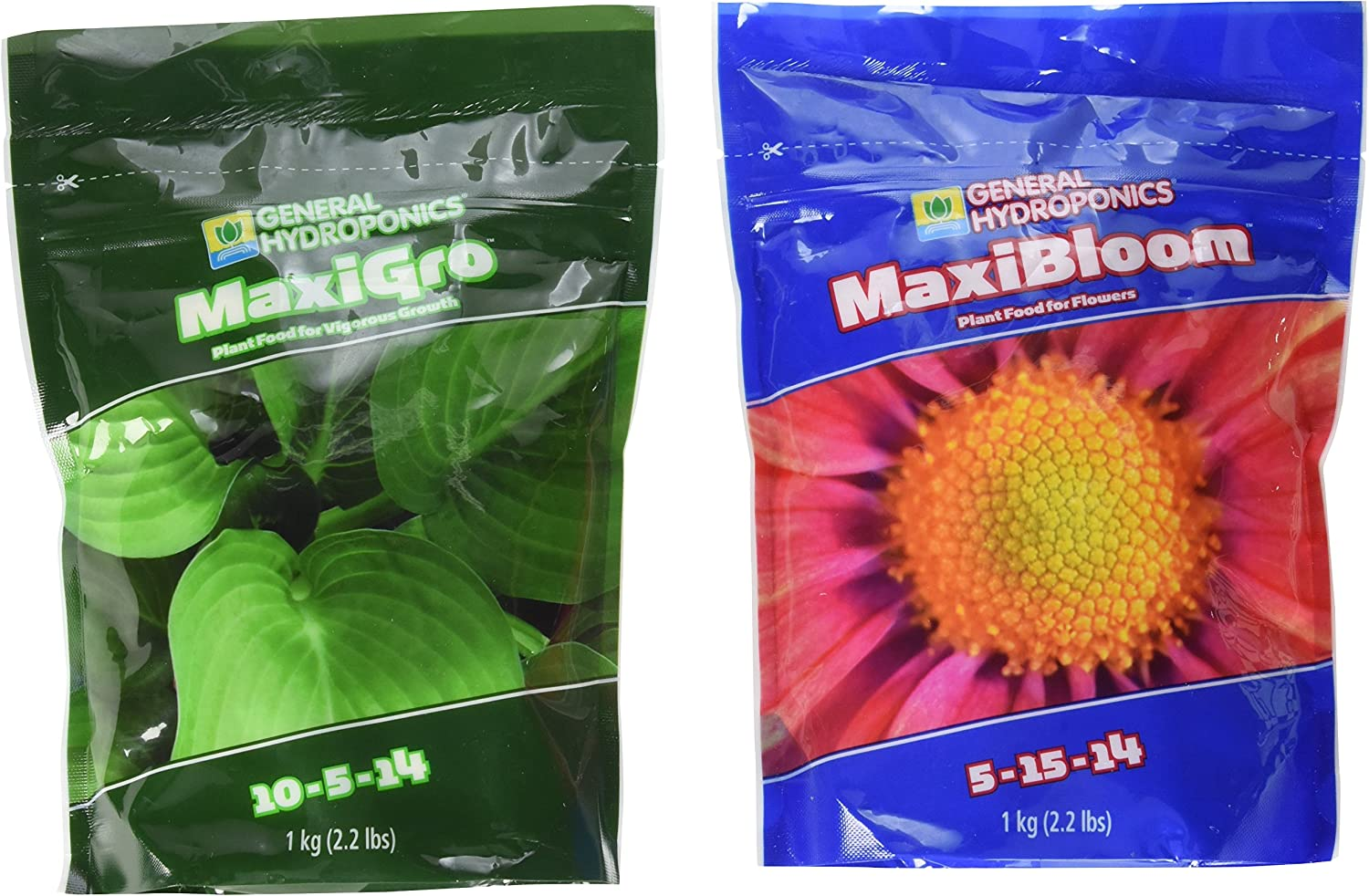 General Hydroponics 718281+718301 Maxigro and Maxibloom Fertilizer, Each 2.2 lbs