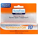 AcneFree Terminator 10 Acne Spot Treatment with Benzoyl Peroxide 10% Maximum Strength Acne Cream , 1 Ounce