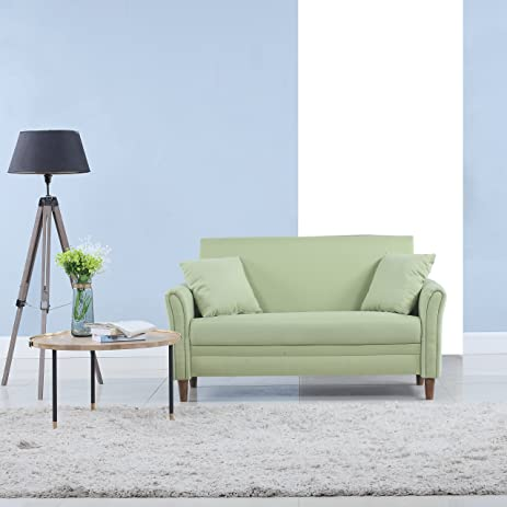 modern 2 tone small space linen fabric loveseat green