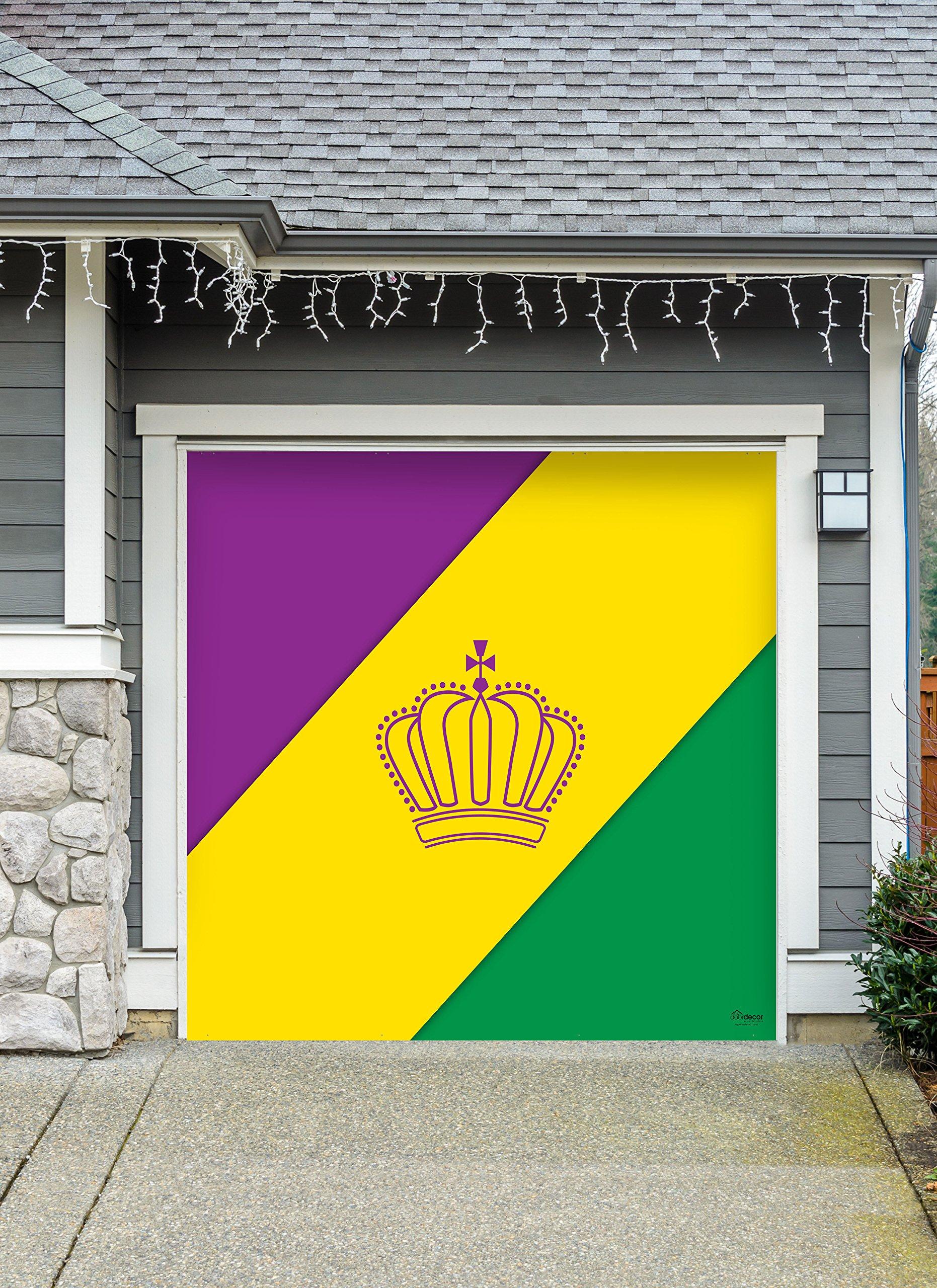 Outdoor Mardi Gras Decorations Garage Door Banner Cover Mural Décoration 8'x8' - Mardi Gras Diagonal Stripes - ''The Original Mardi Gras Supplies Holiday Garage Door Banner Decor''
