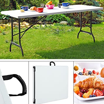 Table de jardin pliable 240 cm blanc Table de camping ...