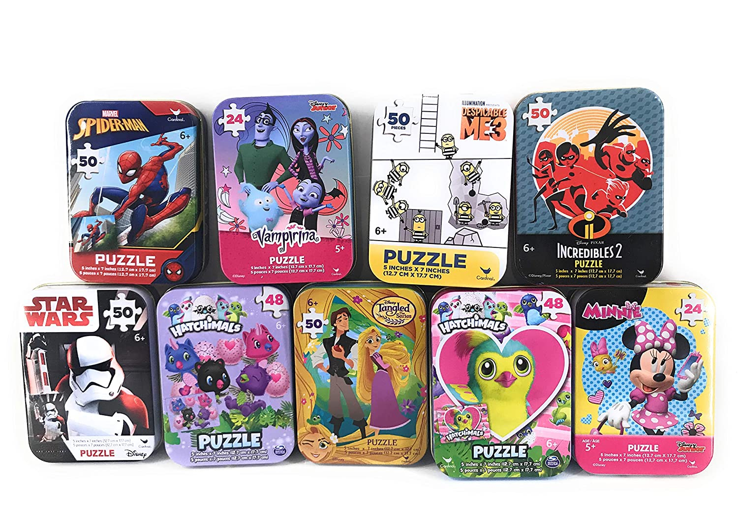 Assorted Collectible Frozen Peepa Pig PJ Masks Spiderman Cars Princess Mickey Jigsaw Puzzle in Tin 2 Pack