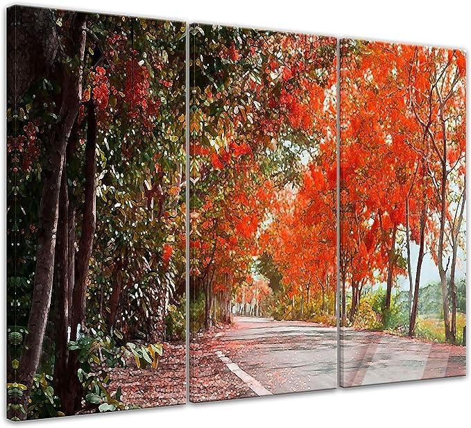 Bilderdepot24 Cuadros en Lienzo Lámina Reproducción Avenida en el otoño 50 x 40 cm - Listo tensa, Directamente Desde el Fabricante: Amazon.es: Hogar