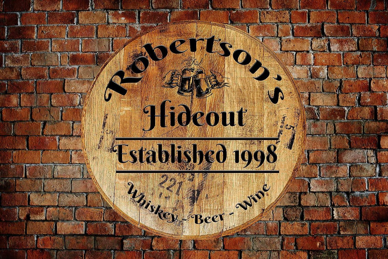 Personalized Lake House Wall decor Whiskey Barrel Top Bar Sign Wall Art