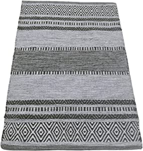 Chardin Home- New Mexico: Hand Woven Recycled Cotton Rug. Machine Washable. Size: 2'x3', Sage Gray-Ivory