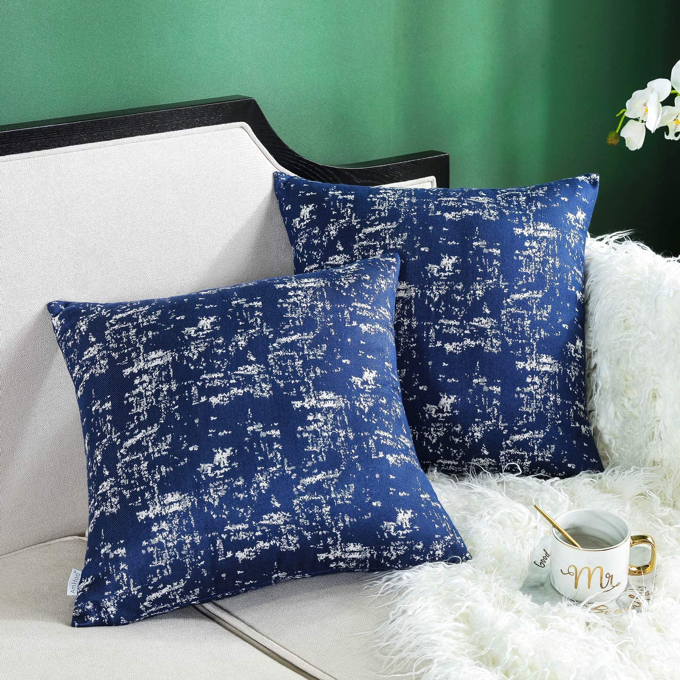 Amhoo Pack Of 2 Abstract Textured Art Cotton Blend Throw Pillow Covers Double Sided Jacquard Pillowcase Home Decorative Cushion Cover For Couch Sofa 18x18 Inch Navy Blue Home Kitchen