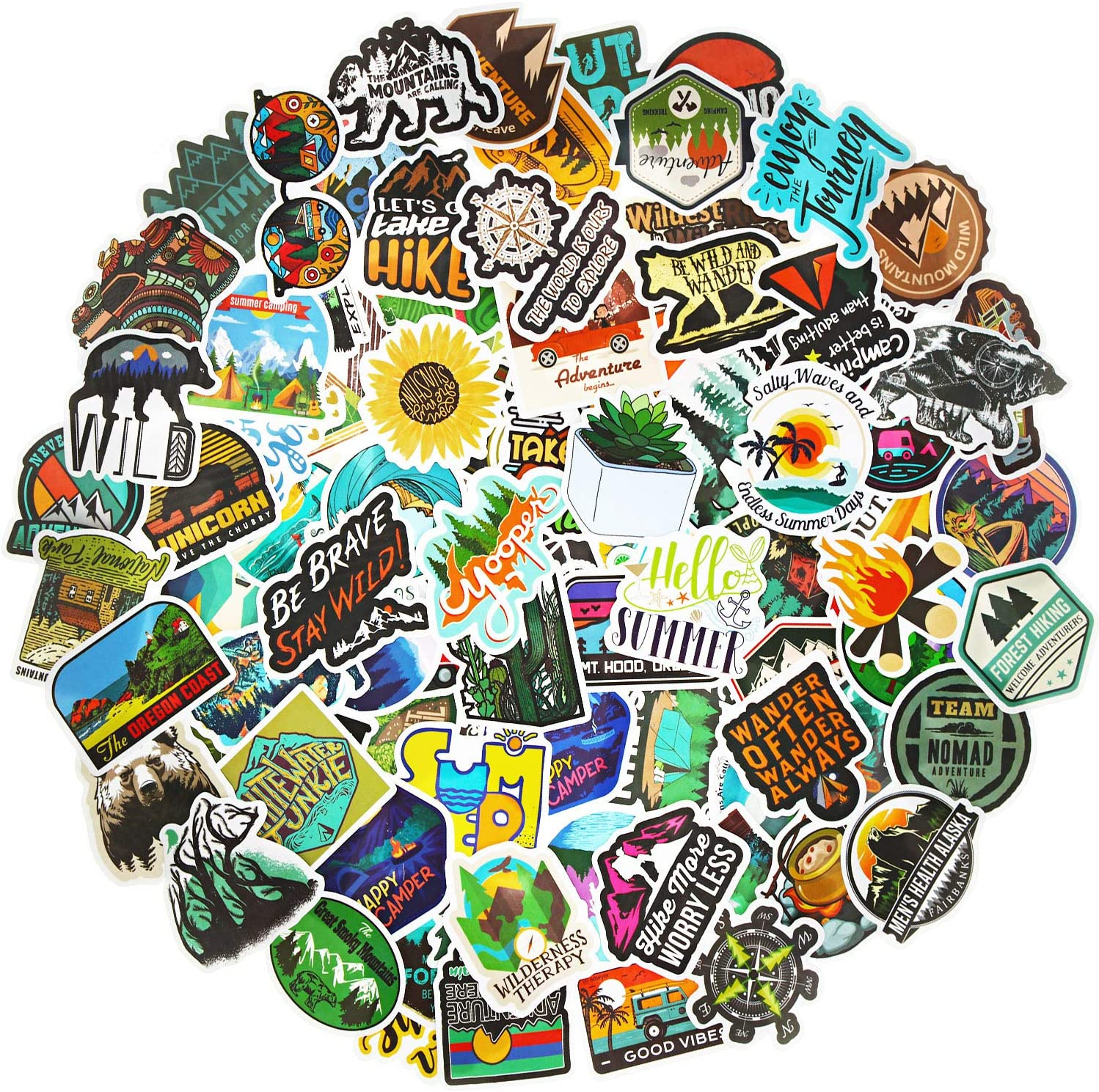 100 Pieces Adventure Outdoor Stickers Wilderness Nature Stickers Waterproof Hiking Camping Travel Stickers Vsco Vinyl Decals for Water Bottle Laptop Luggage Skateboard Snowboard Car Bicycle