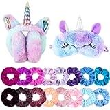 Belanttega 18Pcs Winter Unicorn Earmuffs Sleep Mask and Velvet Hair Scrunchies Set, Plush Foldable Ear Warmers, Cute…