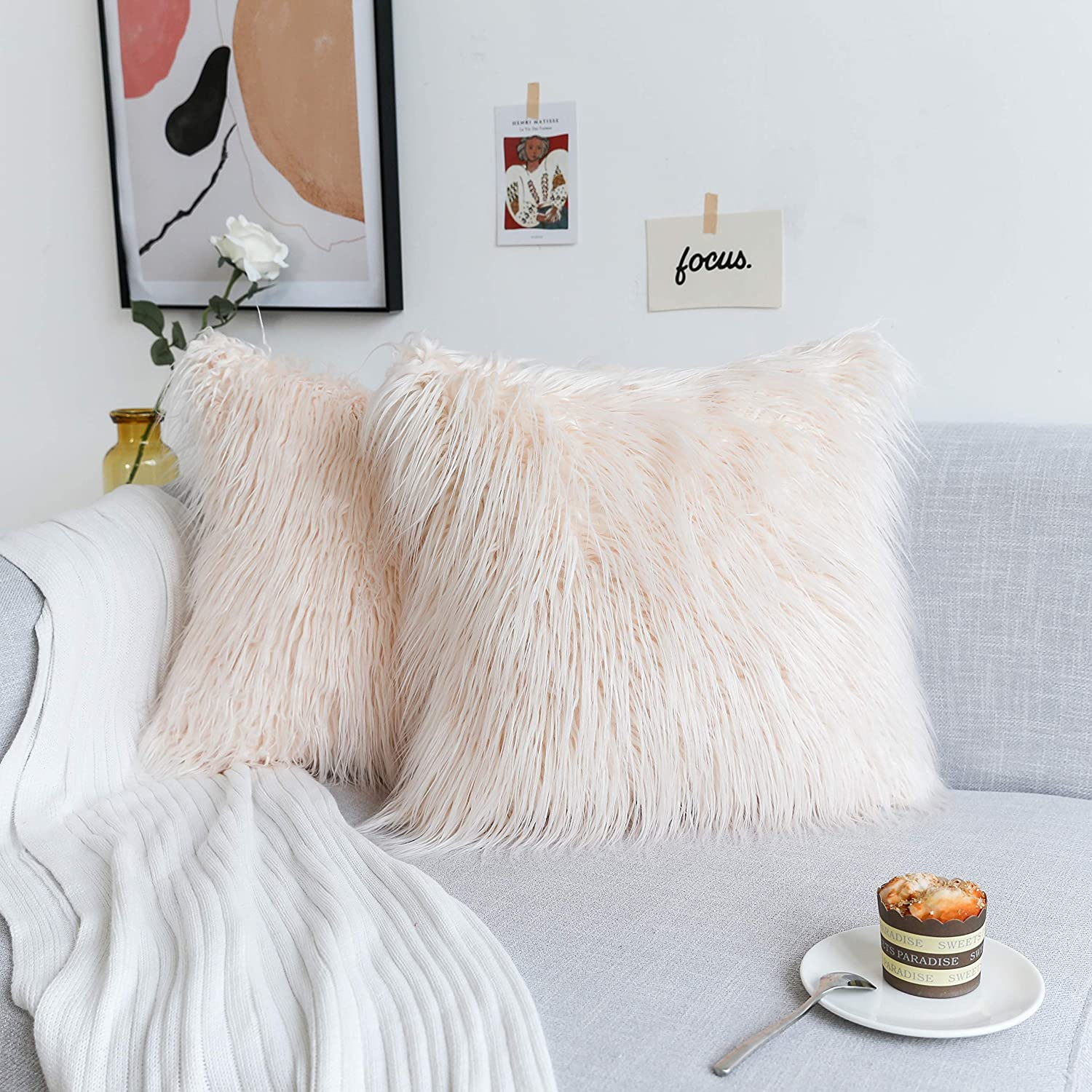 Enjoyable Kevin Textile Decorative New Luxury Series Merino Style Coral Pink Fur Fuzzy Throw Pillow Case Cushion Cover Pillow Cover For Bed Couch 2 Pc 18 X Alphanode Cool Chair Designs And Ideas Alphanodeonline