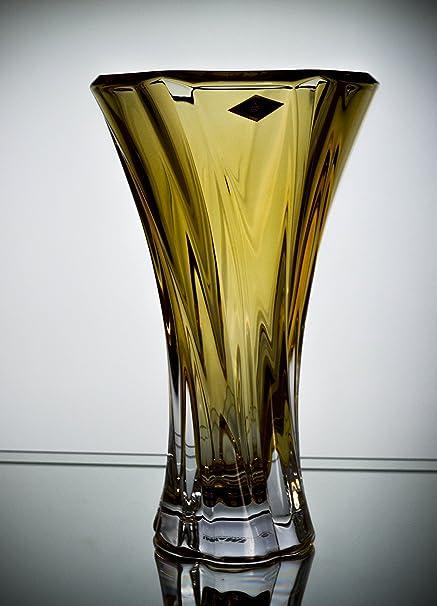Amazon Bohemia Crystal Glass Vase Oklahoma 12h Amber Yellow