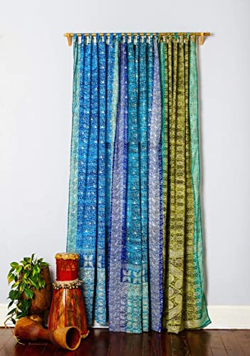 Sari Curtains Boho Chic Ocean collection Light Window Treatment 108 96 84 inch Sheer Drapes Bedroom LivingRoom BedCanopy Yoga Studio Gypsy Bright Colorful HomeDecor Turquoise Teal Lapis Blue Olive