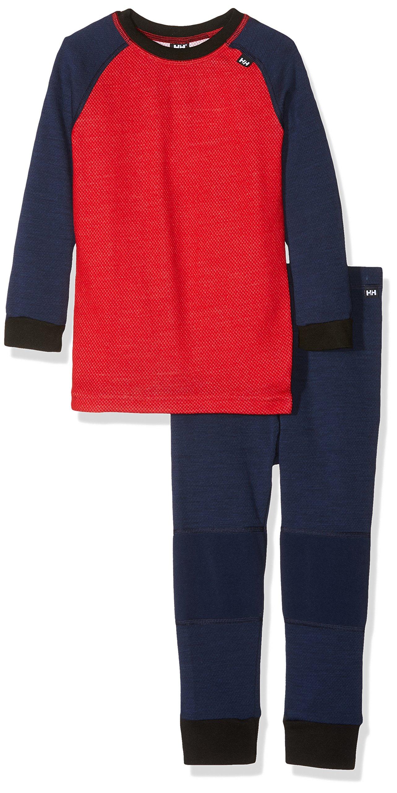 Helly Hansen Kids LIFA Merino Wool Warm Baselayer Set Top and Bottom, 691 Evening Blue/Alert Red, Size 2